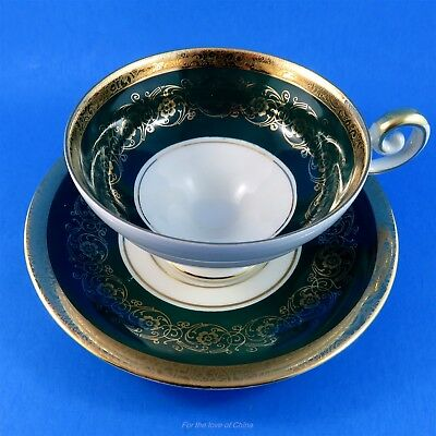 Deep Green and Gold Edge Kunst Kronach Bavaria Germany Tea Cup and Saucer Set