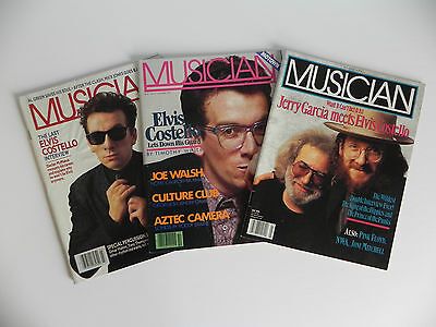 Musician Magazines Set of 3 Elvis Costello Jerry Garcia