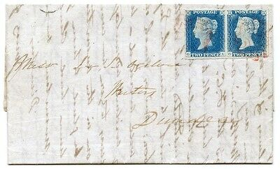 "1840 cover, 2d blue pl 1 pair cancelled by the Aberdeen ""ruby"" Maltese cross."
