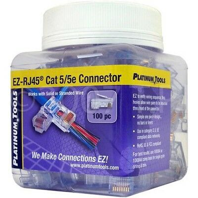 Platinum Tools 202003J 100-Pc Jar EZ-RJ CAT 5/5e Connectors