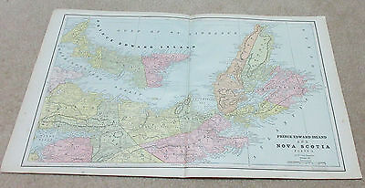 1890 ORIGINAL Map -  Prince Edward Island and Nova Scotia