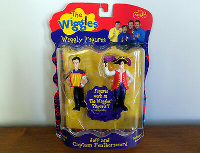 The WIGGLES 2 FIGURES Set - JEFF AND CAPTAIN FEATHERSWORD - NEW - RARE