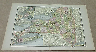 1890 ORIGINAL Map -  New York, Connecticut, New Jersey