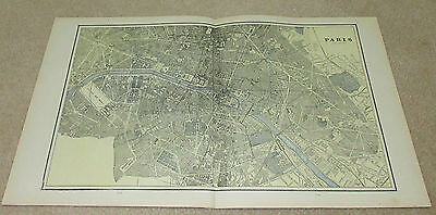 1890 ORIGINAL Map - Paris, Berlin, Calcutta