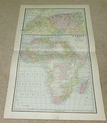 1890 ORIGINAL Map -  Africa, Oceanica, Islands in the Atlantic Ocean