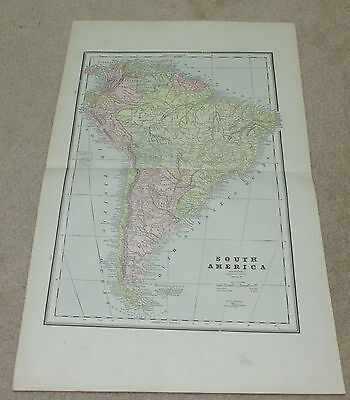 1890 ORIGINAL Map - South America, Cuba/Bahama Islands , Europe