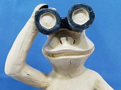FROG 14 inch Tall Beach Frog with Binoculars in Blue Swimming Suit