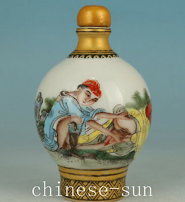 Fine Chinese Porcelain Handmade Painting Hug Girl Statue snuff Bottle