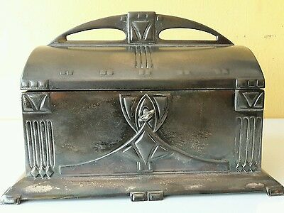 Antique Original 1900 Pewter Art Nouveau Secessionist WMF Jewelry Box
