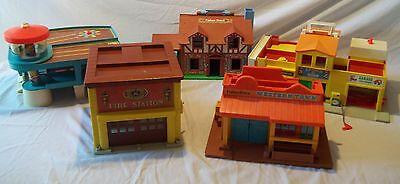 Vintage Fisher Price Little People Lot Fire Station Western Town Airport Village