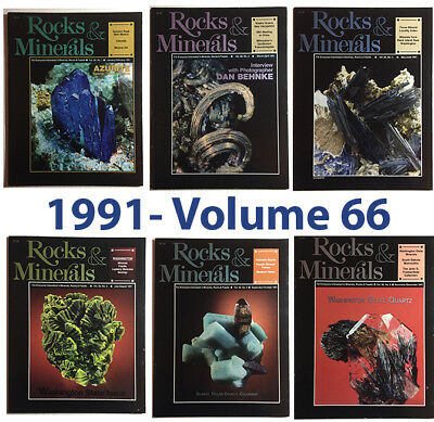 Rocks and Minerals 1991 Volume 66  (Number ONE thru SIX) - Pristine