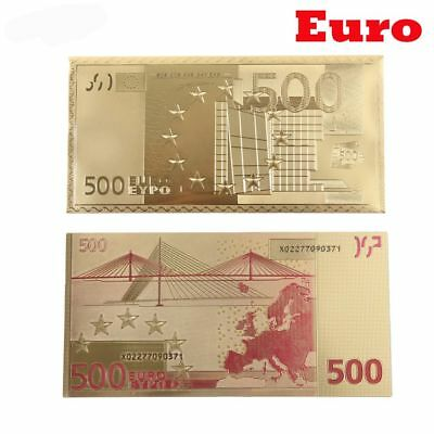 Sets 24K Gold Foil Plated Euro Gold Notes Collect Business Gift