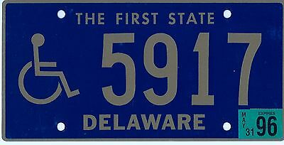 Delaware 1996 Handicapped license plate