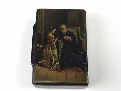 Antique Lacquered Wood Snuff Box w/ HP Scene of Girl Kneeling Beside Man
