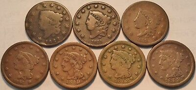 Lot of (7) Large Cents 1822 1831 Coronet Head, 1841 1849 Braided Hair Penny 1C
