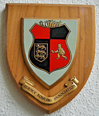 Jersey Bowling Association wall plaque shield coat of arms bowls club