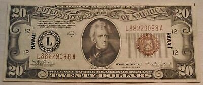 1934 A $20 Hawaii Federal Reserve Note, Scarce Higher Grade Twenty World War II
