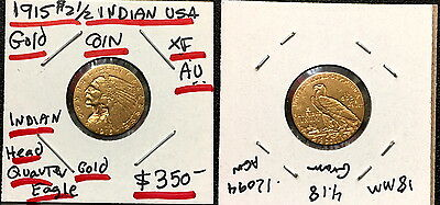 A HIGH GRADE OLD LUSTROUS 1915 Indian Head $2.5 Gold Half Eagle Coin-RETAIL $499