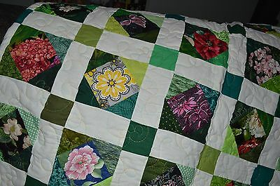 """New Beautiful Handmade Finished Quilt Named """"100 Different Flowers"""" (85"""" X 82"""")"""