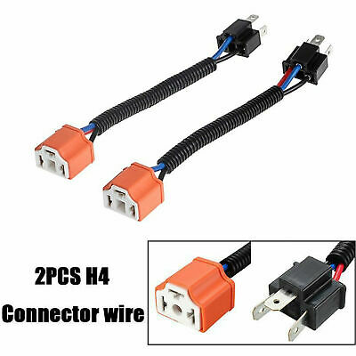 2X H4 9003 Bulb Headlight Plug Lamp Socket Connector Wire Harness 3  Prong Wire Harness on