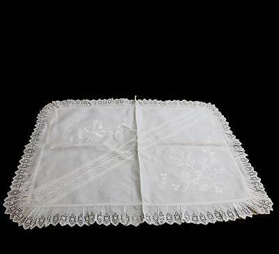 Exquisite vintage white linen embroidered GOOD LUCK horseshoes ruffle mat cloth