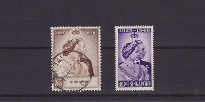 Singapore 1948 Royal Silver Wedding Stamps Set  - Fine Used (L048)