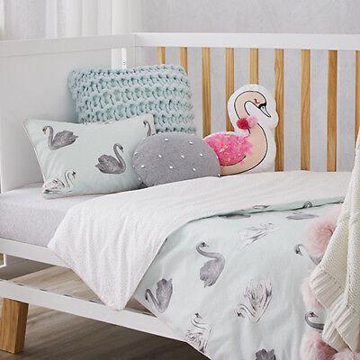 Adairs Kids Swan Cot Odette , Girls Nursery Cot Quilt Cover Set