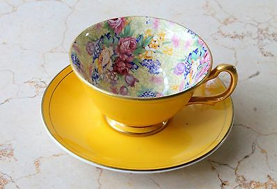 Royal Winton Welbeck Chintz Best Gold Bone China Tea Cup and Saucer | Duo