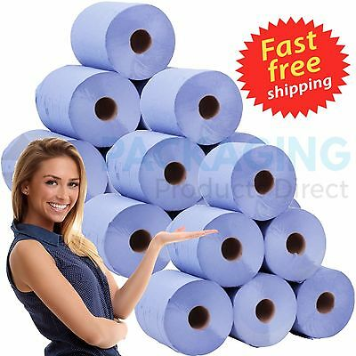 BLUE ROLL 2Ply Centrefeed Rolls Paper Hand Towels Kitchen Tissue Catering Wipes