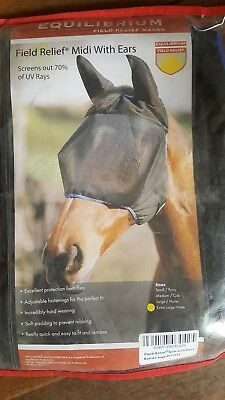 Full face mesh fly mask hood , UV protection with full face & ears size large