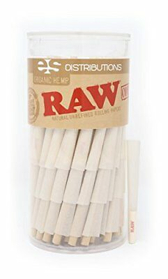 RAW Organic 1 1/4 Pure Hemp Pre-Rolled Cones With Filter Pack of 150 Papers