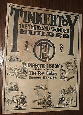1923 Tinkertoy Direction Book 8 Page Building Instruction Booklet Toy Tinkers IL