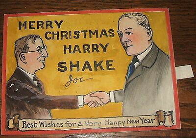 c1940s Original Hand Made Moveable Christmas New Year Card Theatre Stage Hands