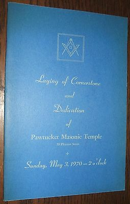 1970 Pawtucket Masonic Temple Cornerstone and Dedication Ceremony Souvenir Book