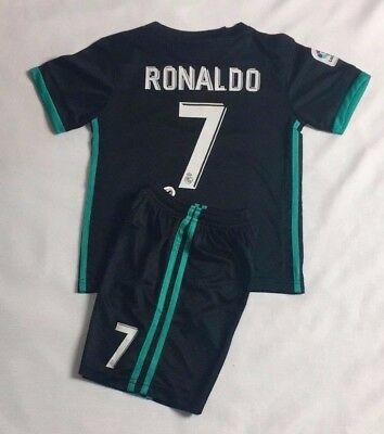 New 2018 Kids Soccer Jersey Real Madrid Cap Away #7 Ronaldo Kit Top+Short Set