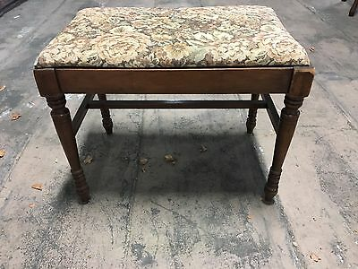 Vintage Wood Bench Vanity Stool With FLoral Upholstery