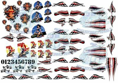 Shark Mouth & Bomber Girl Nose Art - Waterslide Decals in all popular scales