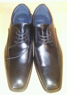 New W/O Tags JOSEPH ABBOUD Black Leather Square Toe Lace Up Dress Shoes Size 11