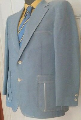 Vintage Johnny Carson Sport Coat Men's Powder Blue Union Made 39R Horse Lining