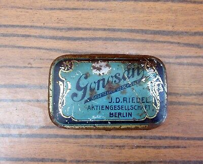 Antique Vintage German Gonosan Medical Pharmaceutical Pills Empty Tin Case Box
