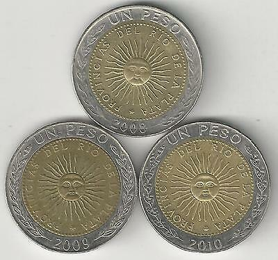 3 DIFFERENT BI-METAL 1 PESO COINS from ARGENTINA (2008, 2009 & 2010)