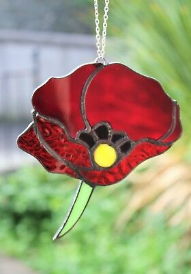 Red Poppy Stained Glass Suncatcher, Remembrance Day, Handmade