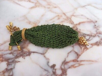 Exquisite Fine Antique Georgian Gilt Bar Ring Chatelaine Silk Knitted Purse