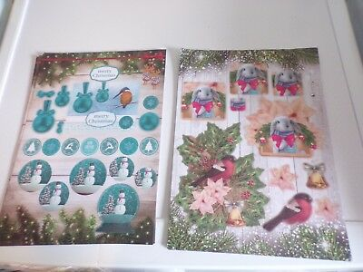 2X 3D Sheets Die Cut No Scissors Need Christmas (A125) New 30X21 Cm