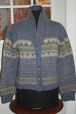 Sweater. Hand Loomed Wool. Button Down Cardigan.