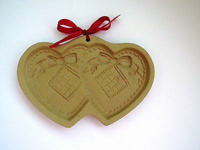 1988 Shortbread Cookie Mold by Brown Bag Cookie Art - Double Hearts Design EUC