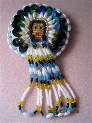 NATIVE INDIAN PRINCESS Handmade /w Blue Sequences & Lucite Beads Leather Brooch