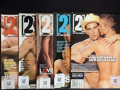 Five issues of 2 HOT MALE COUPLES MAGAZINES. good condition
