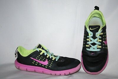 Nike Girls Sneakers Size 11 C Pink Black Yellow Laces Tennis Shoes PreSchool