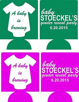 BABY IS BREWING baby shower Koozies no minimum custom can coolers